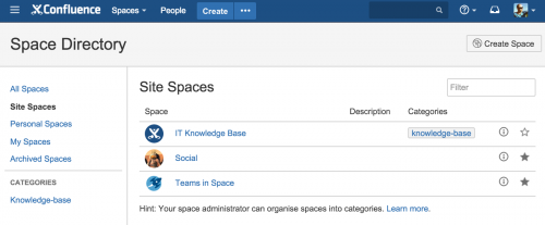 Confluence team interface