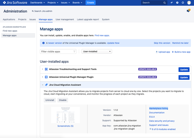 Jira Cloud Migration Assistant - Manage Apps