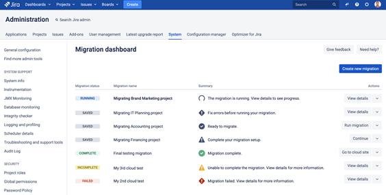 Jira Cloud Migration Assistant - Migration Dashboard