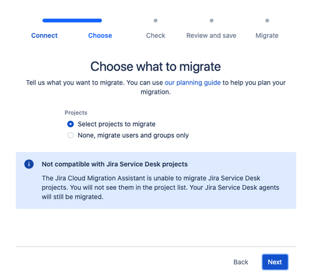 Jira Cloud Migration Assistant - Choose what to migrate