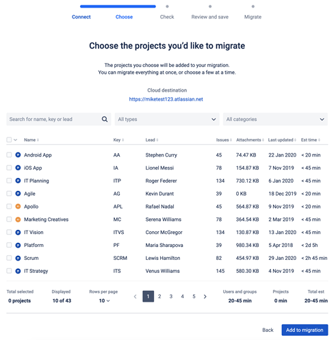 Jira Cloud Migration Assistant - Choose the Project you want to Migrate