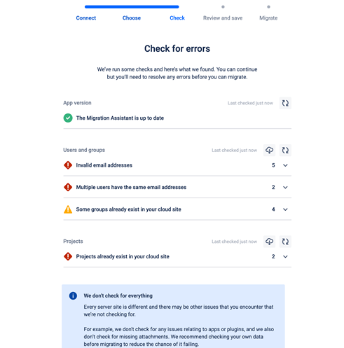 Jira Cloud Migration Assistant - Check for Errors