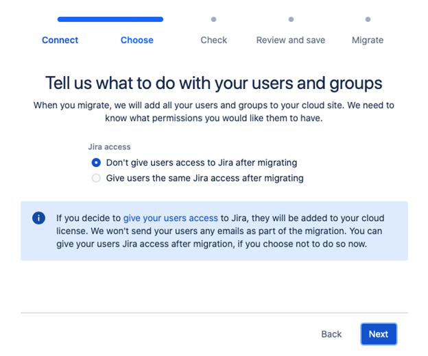 Jira Cloud Migration Assistant - what to do with users and groups